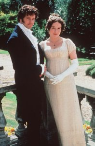 "Twenty years after airing on the BBC, women still love Colin Firth and Jennifer Ehle as Fitzwilliam Darcy and Elizabeth Bennett in ""Pride and Prejudice"" by Jane Austin, a novel where good manners and integrity win out over flattery and deceit."