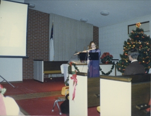playing flute at Holmes Park Bible 1988